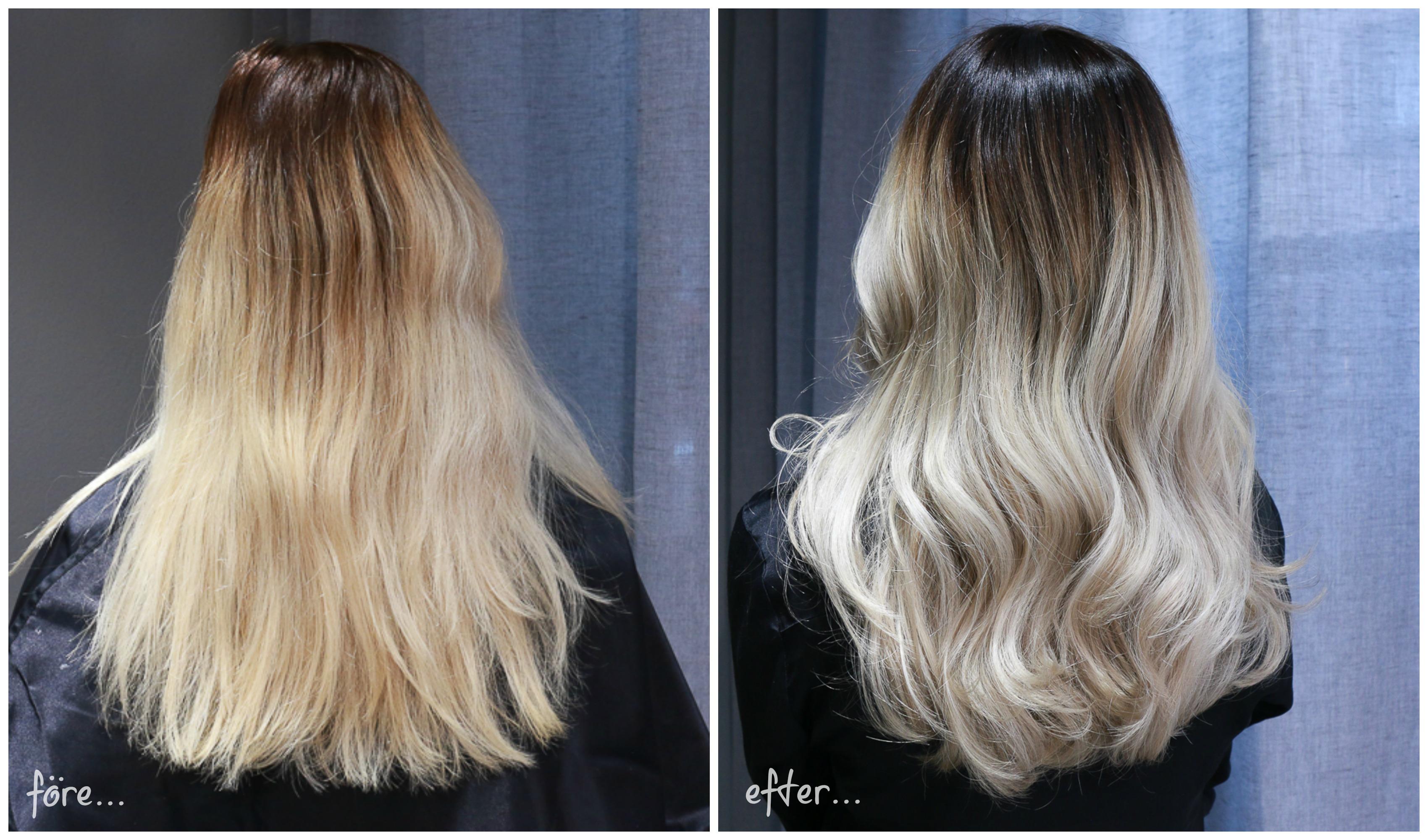 tona håret hos frisör