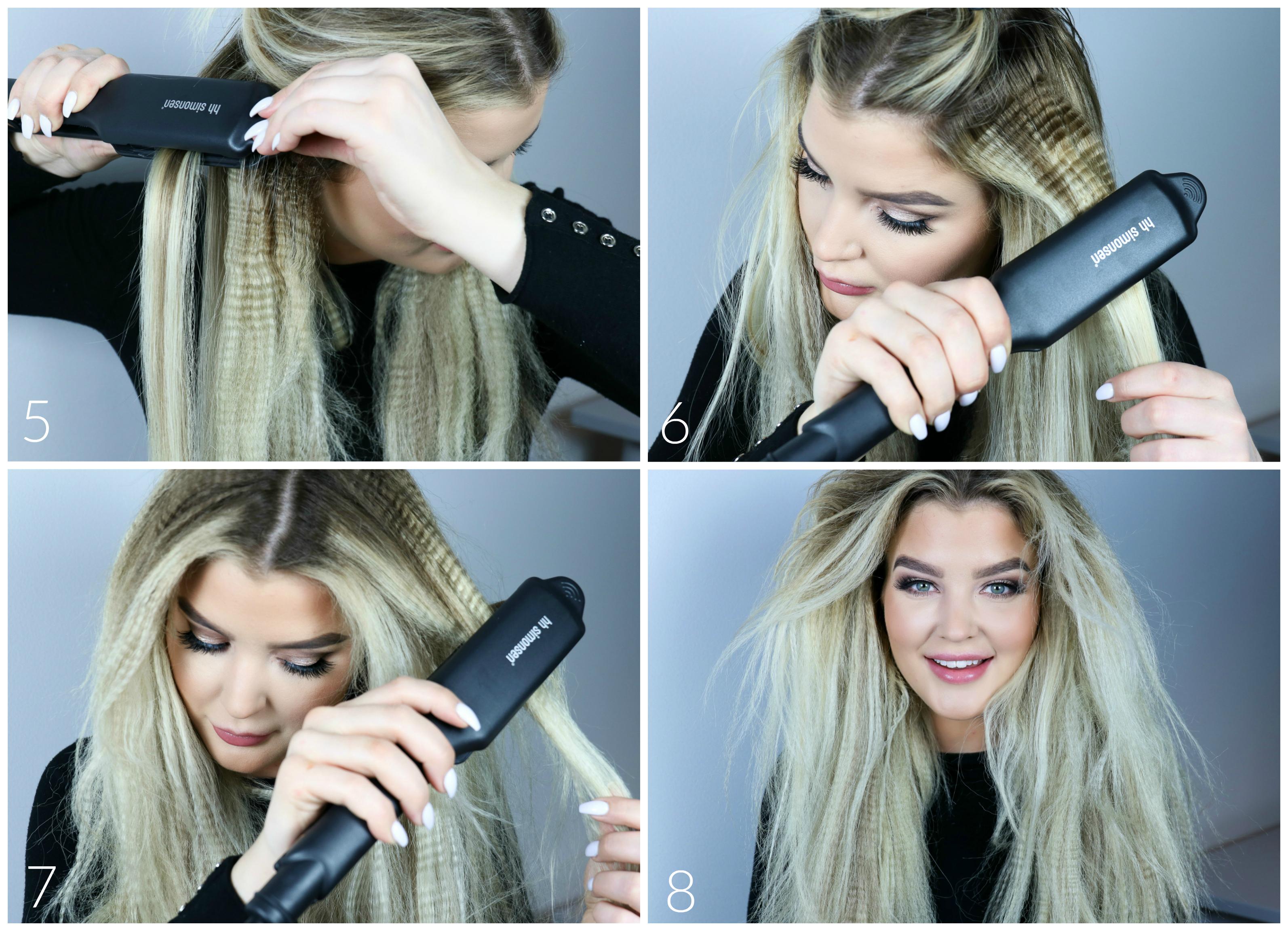 locka håret med stor locktång