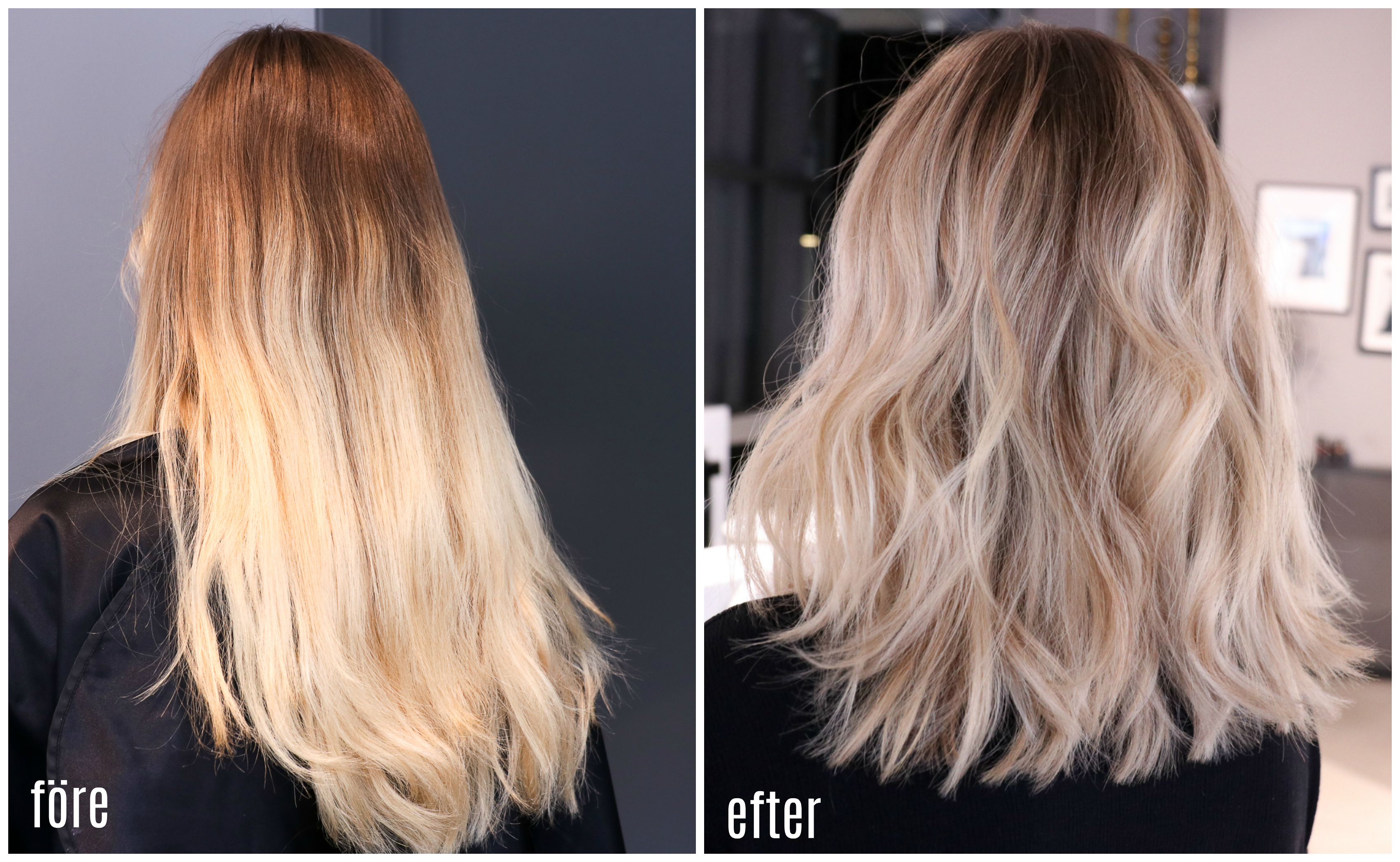 hårfärg mot gult hår
