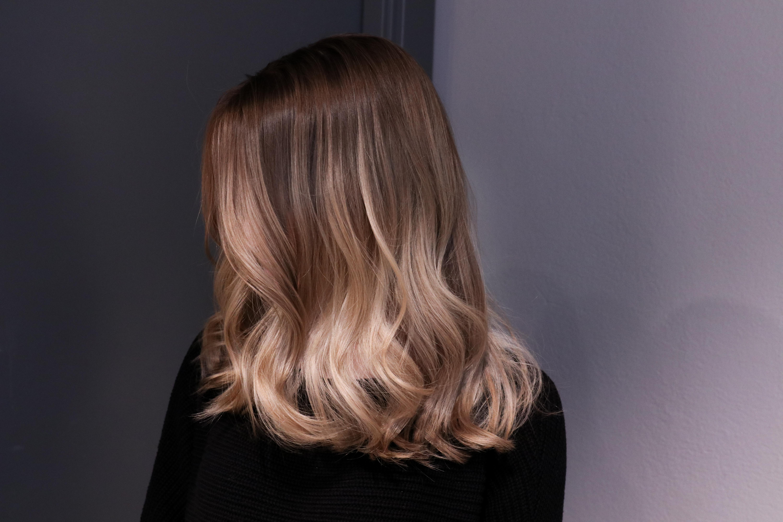 blont hår med ljusbruna slingor