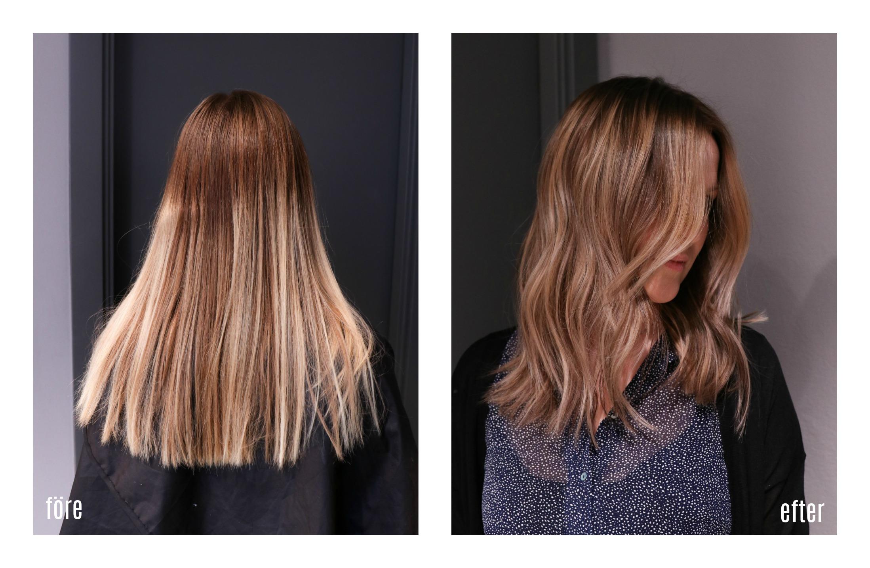 blonda slingor i brunt hår